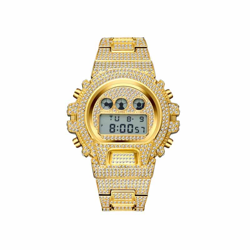 DNSCHIC Multi-function G Style Shock Digital Mens Watches Top Luxury Brand LED 18K Gold Watch Men Hip Hop Male Iced Out Watches