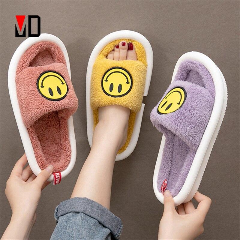 Шлепанцы Mo Dou с улыбающимся лицом для мужчин и женщин, мягкие хлопковые тапочки, плюшевая Милая домашняя обувь, сланцы для пар, для зимы и вес...