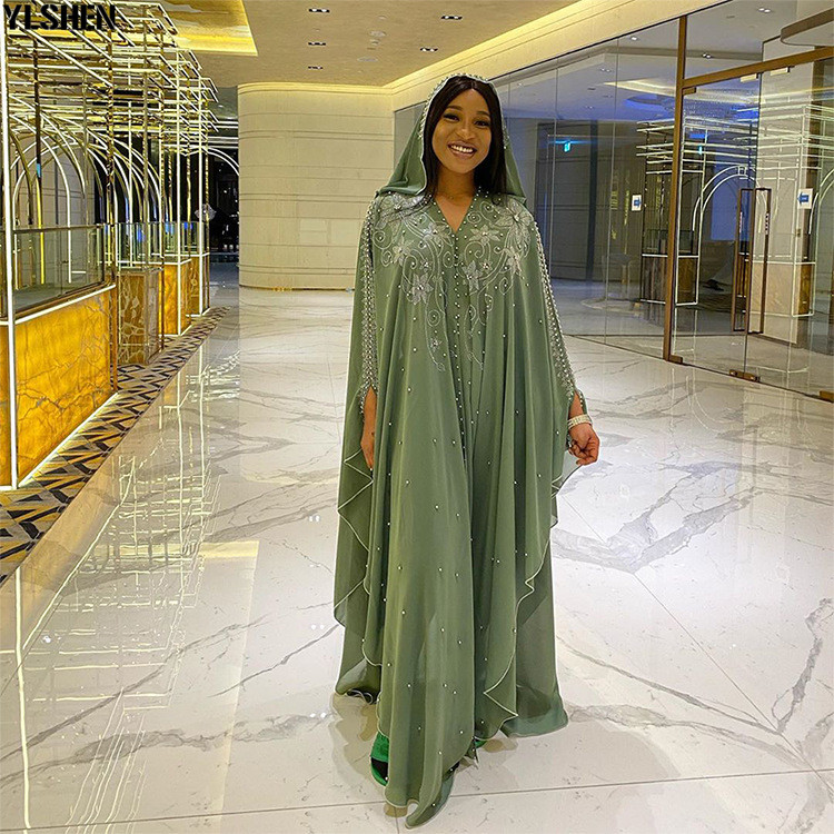 Length 150cm Africa Dress African Dresses for Women Dashiki Diamond Beaded Traditional Boubou African Clothes Abaya Muslim Dress 04