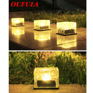 OUFULA Solar Underground Lights LED Lights Glass Outdoor Courtyard Waterproof Lawn Stairs Decorative Landscape Light