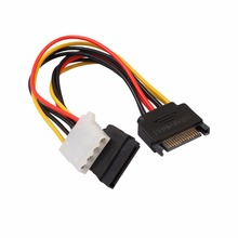 15Pin SATA Male To 4Pin IDE Molex Female + SATA Female Power Cable Cord 18AWG 1 To 2 Power Line For Motherboard & Hard Disk 70cm 6gb s sata3 15pin to sata 7pin ide molex 4pin power data combo cable for pc sata 3 0 sataiii 6gbps hard drive disk ssd