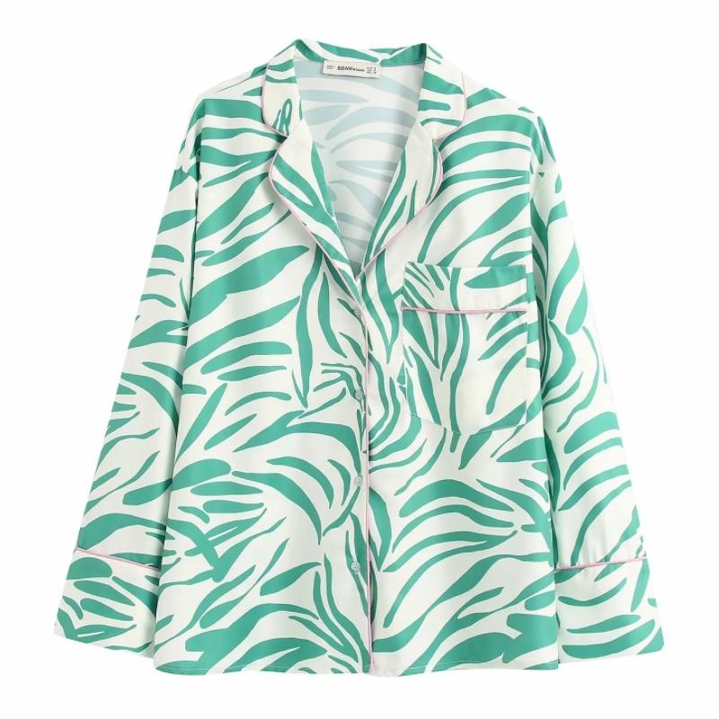 New Women Vintage Green Striped Print Casual Kimono Shirts Long Sleeve Pocket Blouses Women Leisure Roupas Femininas Tops LS6413
