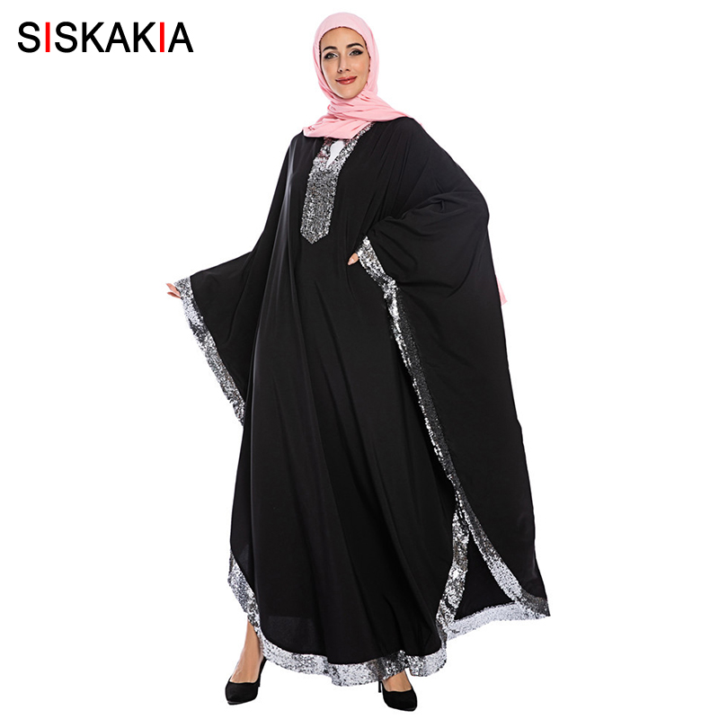 Siskakia Fashion Muslim Batwing Sleeve Abaya Dress Oversize Luxurious Sequin Patchwork Large Size Turkish Arabic Dubai Dresses