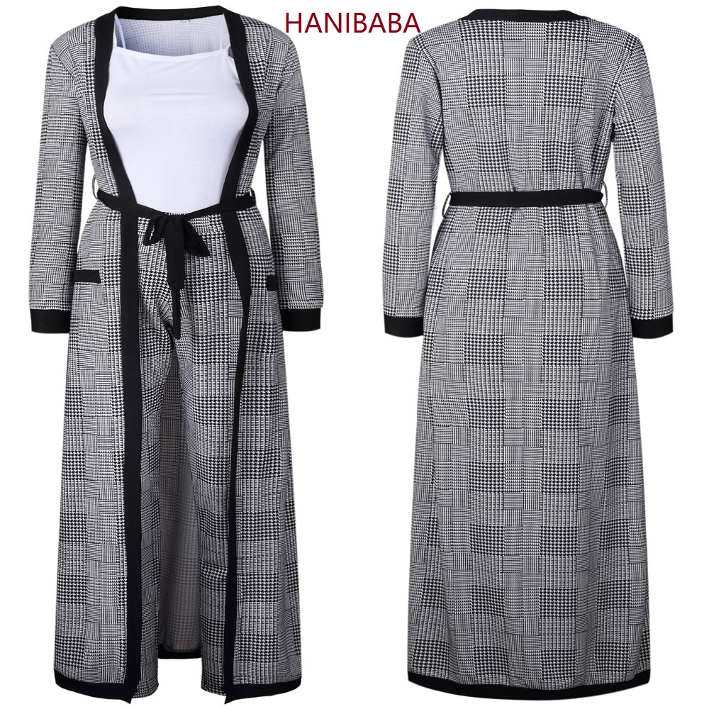 Four-piece Suit Long-sleeve Plaid Cloak Trousers White Camisole Black Belt Pocket Knitted Clothing Casual Women Autumn Winter