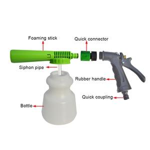 Image 3 - Pistola de espuma de lavado de coches de baja presión, Cañón de espuma para nieve, boquilla de espuma, manguera de agua, botella de 1L