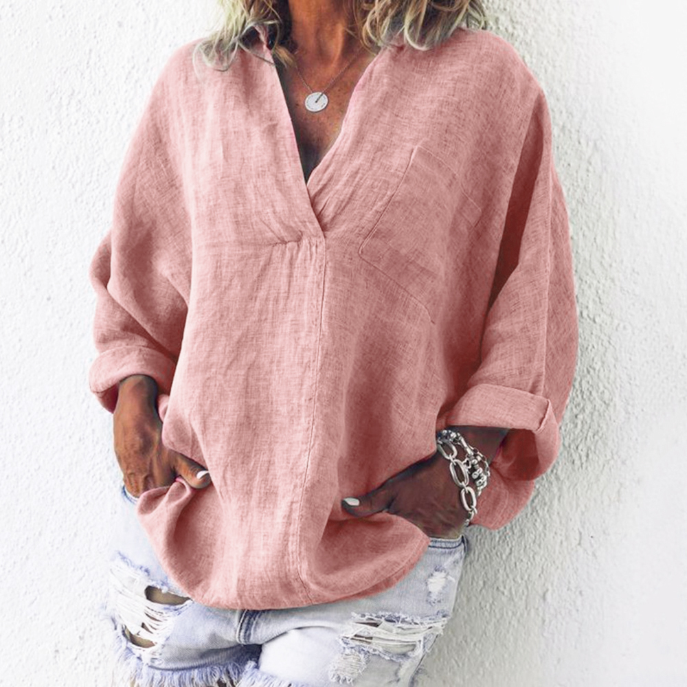 2019 Autumn Pocket V Neck Blouse Loose Cotton Linen Long Sleeve Women 39 s Tunic Women Tops And Blouses Shirt Plus Size Ladies in Blouses amp Shirts from Women 39 s Clothing