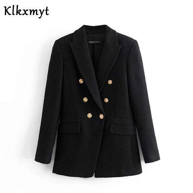 Klkxmyt Za Blazer Women 2020 Fashion Metal Double Breasted Woollen Blazers Coat Vintage Long Sleeve Female Outerwear Chic Tops 3