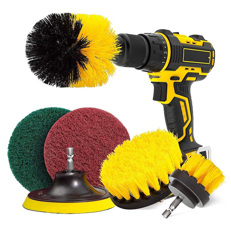 Drill Brush & Scrub Pads, Power Drill Scrub Brush Attachments With Drill Bit Extender For Grout, Tiles, Sinks, Bathtub, Bathro