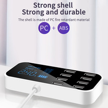 빠른 자동차 충전기 자동 8 포트 멀티 usb lcd 디스플레이 전화 충전기 12 v 배터리 충전기 usb 허브 전화 태블릿 gps dvr