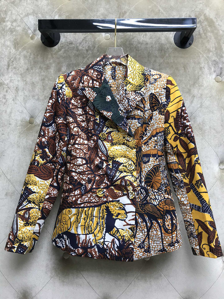 Cw16326 Beautiful Matter Chronicles 2020 Good Morning! Suit-dress Temperament England Wind Colour Printing Suit Loose Coat