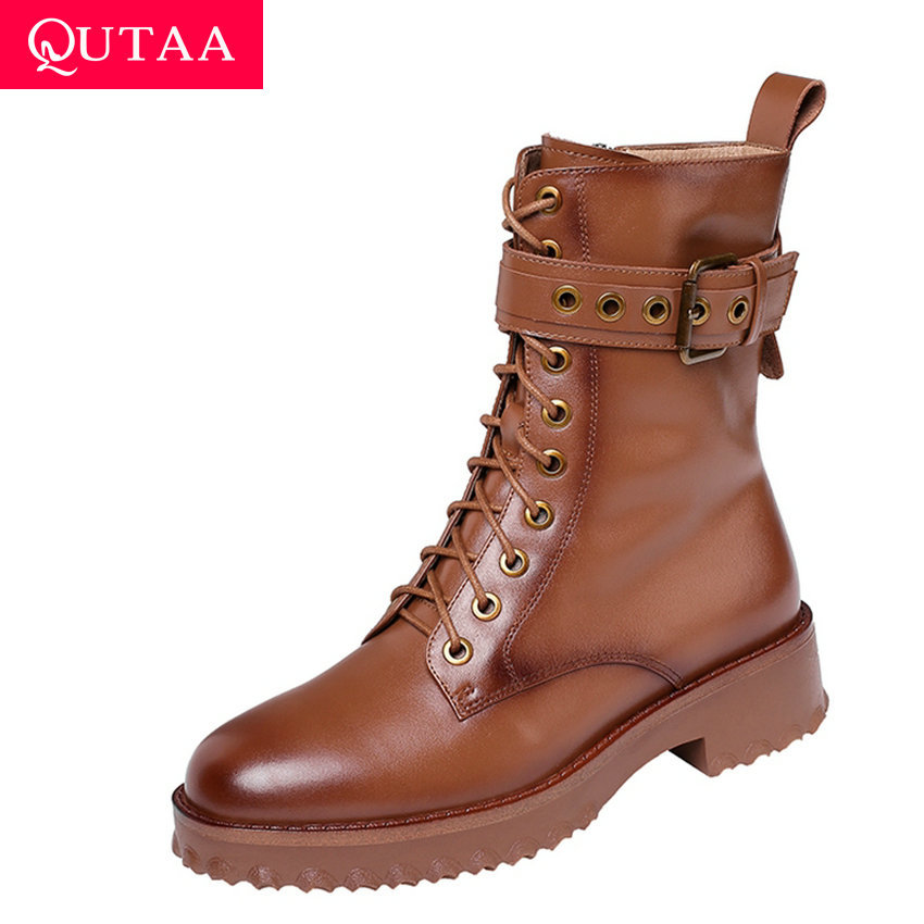 QUTAA 2020 Cow Leather Platform Lace Up Buckle Zipper Fashion Women Shoes Square Heel Round Toe Winter Ankle Boots Size 34 42-in Ankle Boots from Shoes