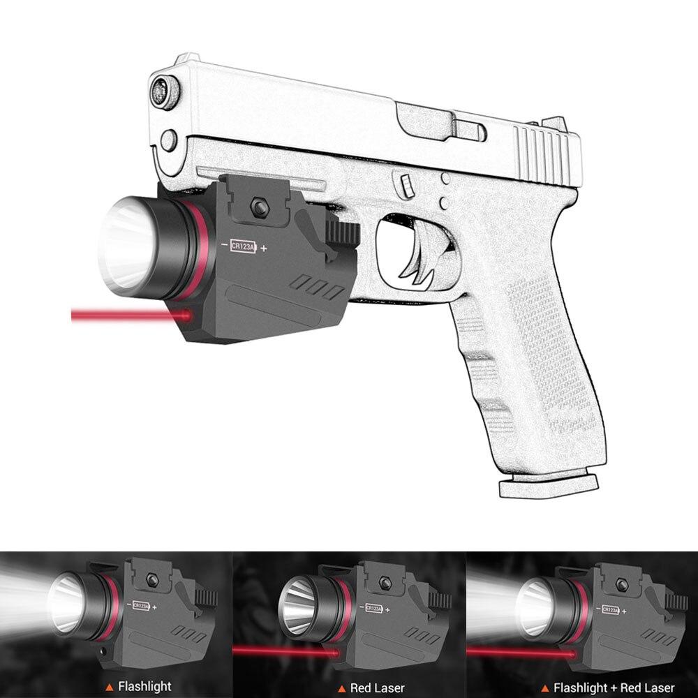 Tactical LED Gun Light Flashlight Red Laser Sight For 20mm Rail Pistol Gun Light Airsoft Light Hunting Shooting Accessory