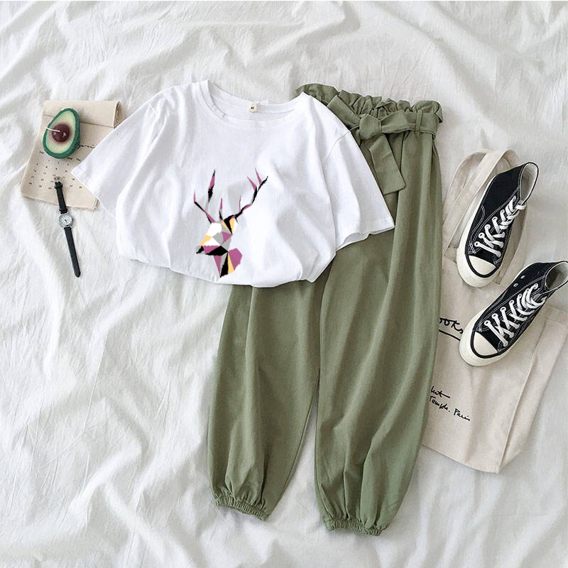 2020 Summer New Womens Two-piece Sets Korean Casual Fawn Print O-neck T-shirt + Bow Belt Pants Female 2 Piece Set Pullover Loose