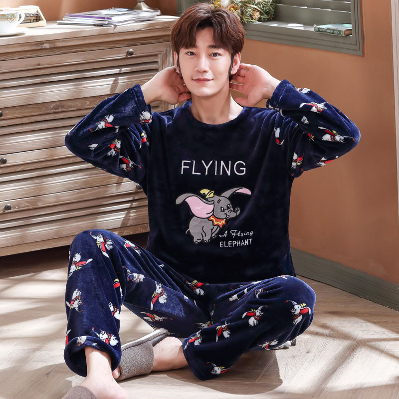 Male Men Pajamas Set Plus Size 3XL 4XL 5XL 95kg Nightwear Long Sleeve Winter Warm Flannel Pajamas Sets Print Sleepwear Long Pant