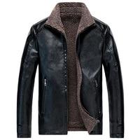 Fashion Winter Jacket Men High Quality Big Size M 8XL Thick Warm Parka Men Velvet Coats British PU Leather Biker Jackets Hombre