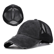 Dad Hat Spot Summer Womens Horsetail Baseball Net Cap With Hole Opening Pure-color Open-top Leakage Braided Sun