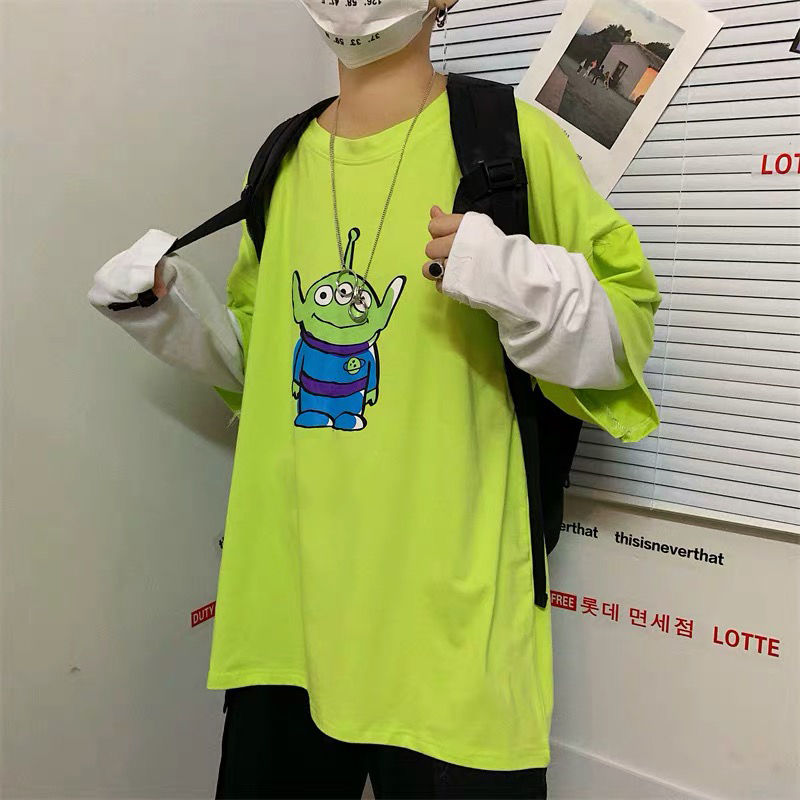 NiceMix 2019 Korean 90s Women Harajuku Summer Fake 2 Pieces Anime T-shirts Kawaii Alien 3 Eyes Print Good Quality Tops Tee