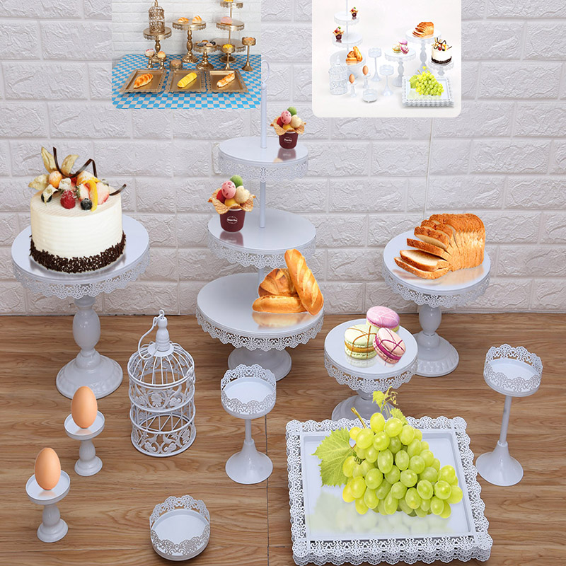 13 pièces/ensemble or blanc gâteau support ensemble rond en métal Cupcake Dessert affichage piédestal mariage présentoir gâteau décoration outil