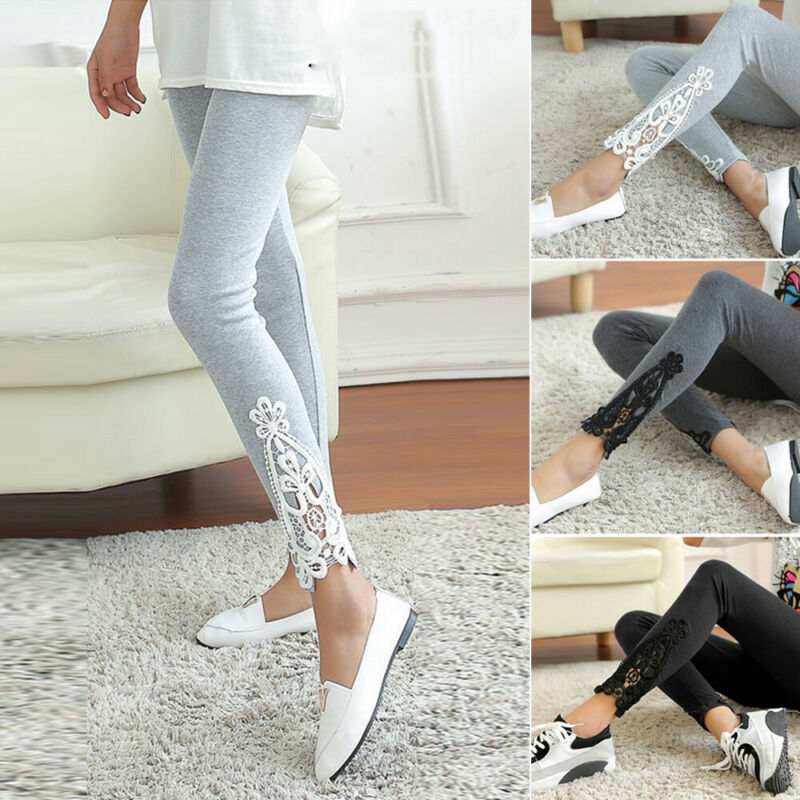 Women Full Length Stretchy Skinny Cotton Leggings Lace Crochet Casual Yoga Pants
