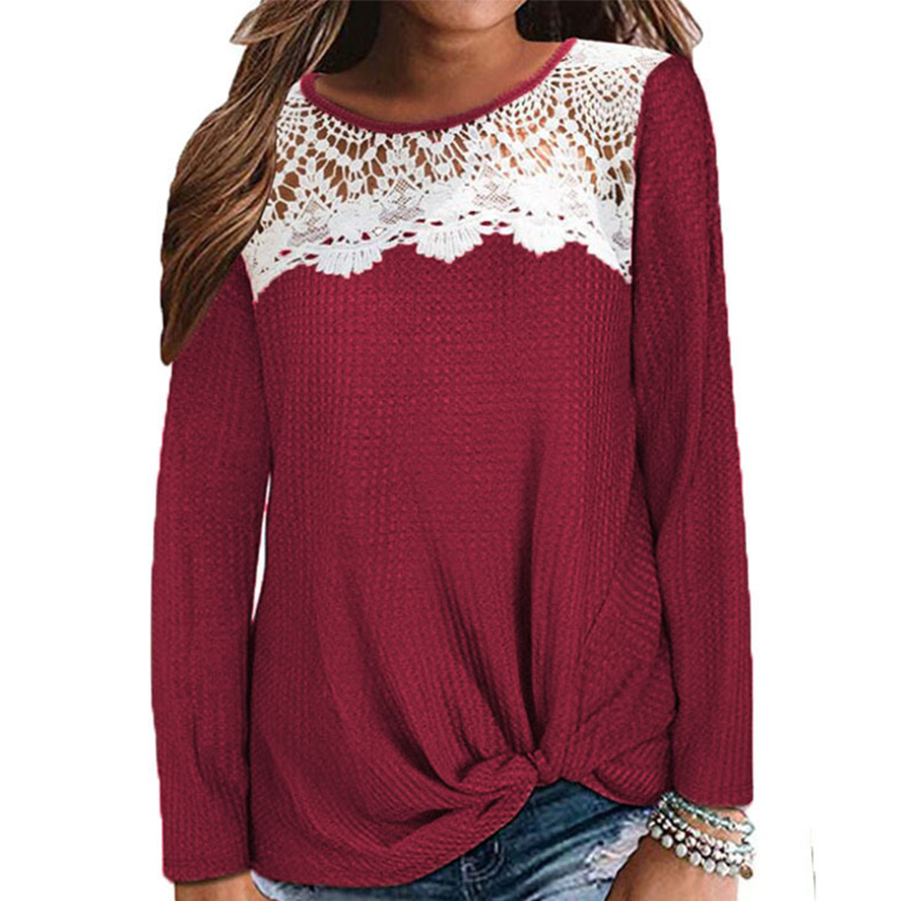 2020 New Women Lace Stitching Blouse Fashion O Neck Solid Color Casual Loose Long Sleeve Off Shoulder Tops Lace Blusas