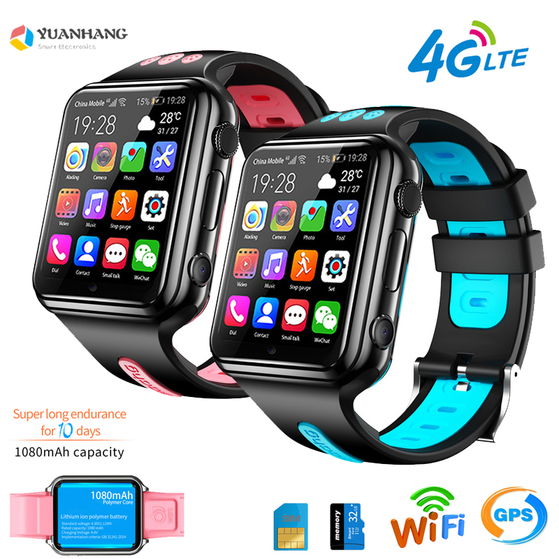 Smart GPS Wifi Location Student Kids Phone Watch Android System Clock App Install Bluetooth Remote Camera Smartwatch 4G SIM Card image
