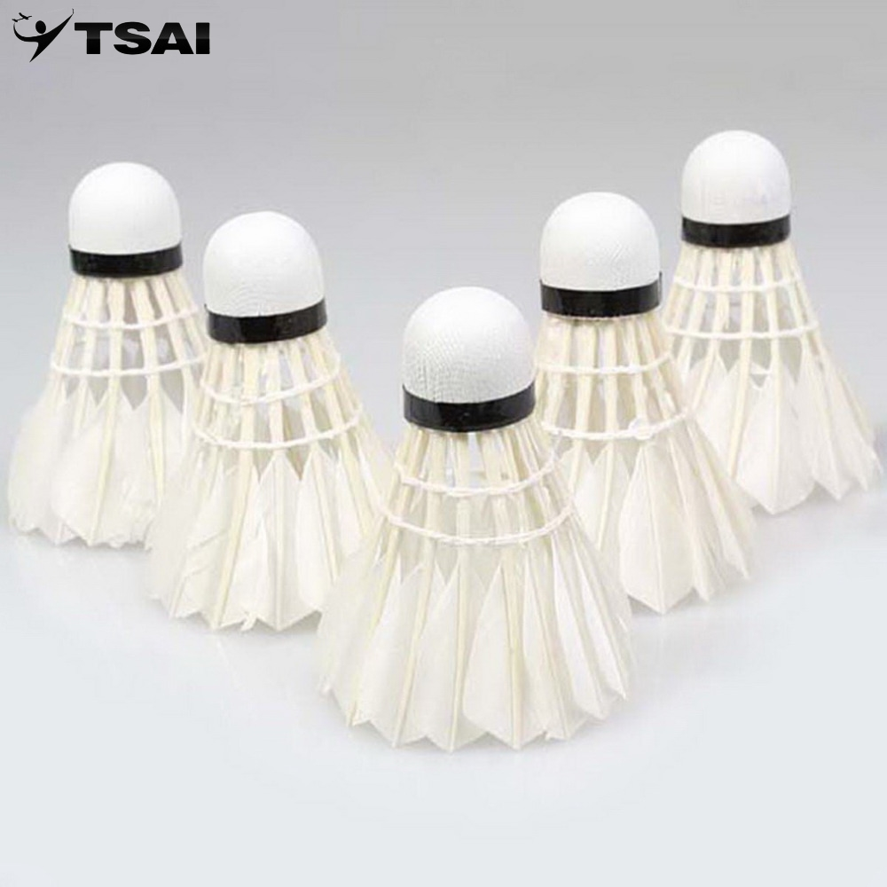 5pcs Goose Feather Shuttlecock Bird White Badminton Ball Game Sport Training
