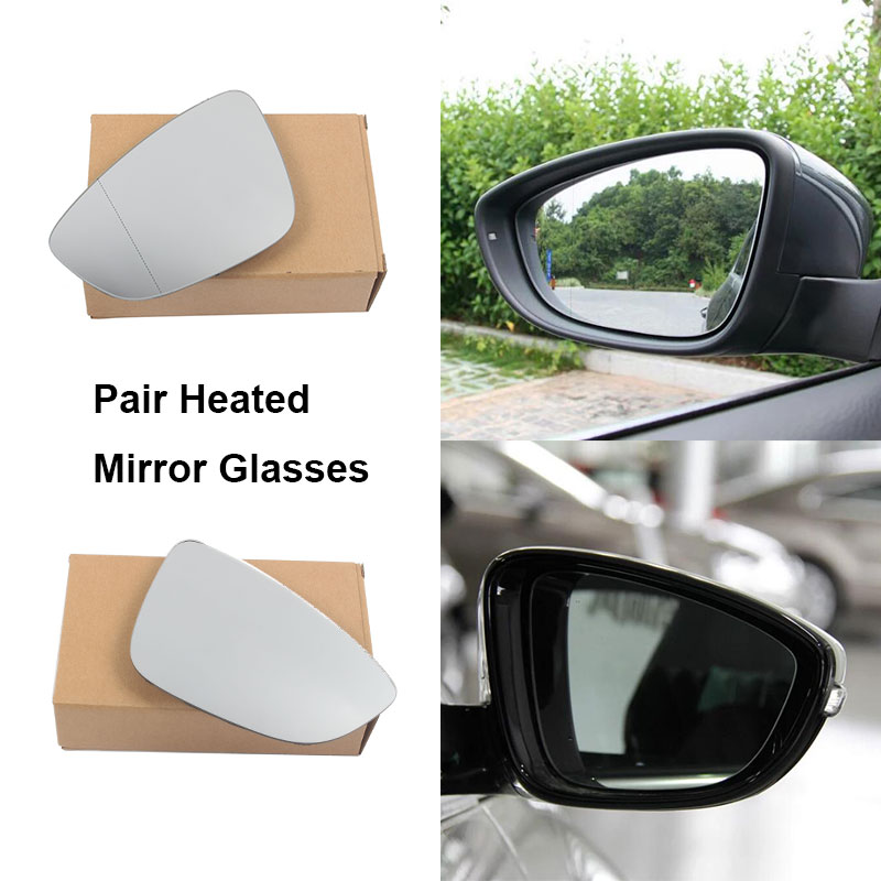 Left Passenger side wing mirror glass for VW Passat 2015-On wide angle heated