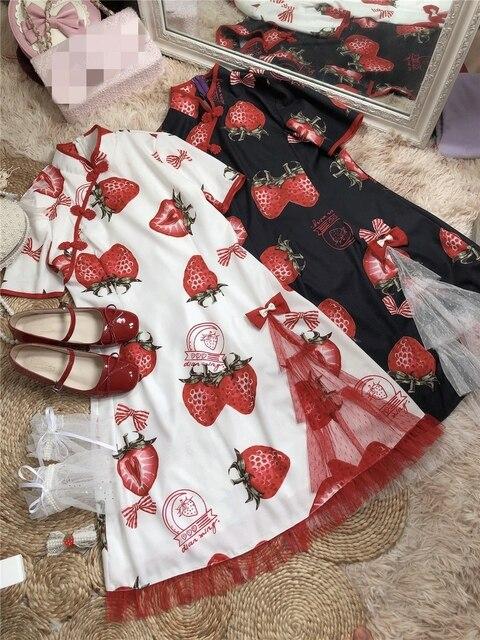 Фото готическое летнее платье в стиле лолиты милое с принтом клубники цена