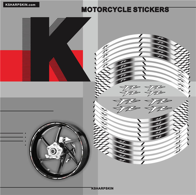 Motorcycle outer wheel <font><b>Stickers</b></font> moto Rim reflective Decoration decals Fit YAMAHA <font><b>FZ</b></font> fz1 fz6 fz8 fz16 fz09 fz25 image
