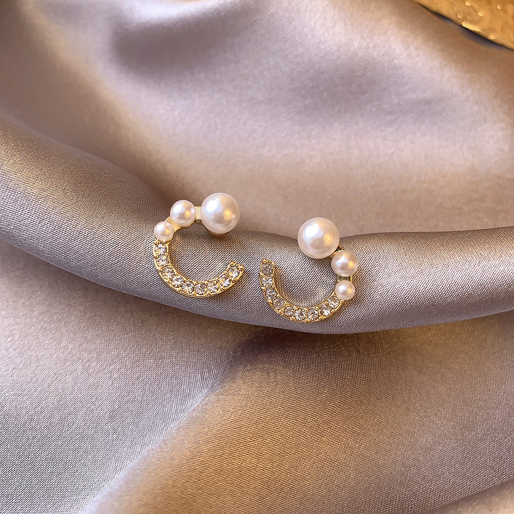 VILAGE Korean Versiaon of The New 2021 Simple Pearl Earrings Inlaid Zircon C-shaped Earrings Female Temperament Earrings