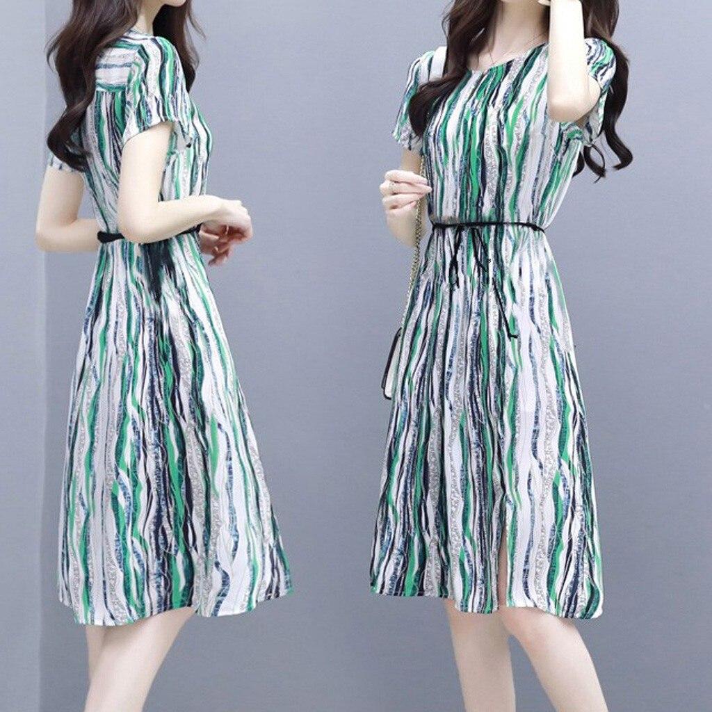 2020 Spring Sweet Women Fashion Women Dress Stripe Printing Short Sleeve O-Neck Knee Length Dress Ladies Party Dresses