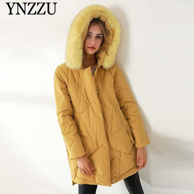 YNZZU Women Fur collar Down jacket Winter 2019 Yellow Thick warm Female Outwear With hooded Loose Long coat Black Elegant 90121