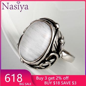 Vintage Finger Rings dla kobiet mężczyzn owalne 11x17MM duże kamienie biżuteria ze srebra próby 925 pierścień Party Weeding rocznica prezenty zaręczynowe