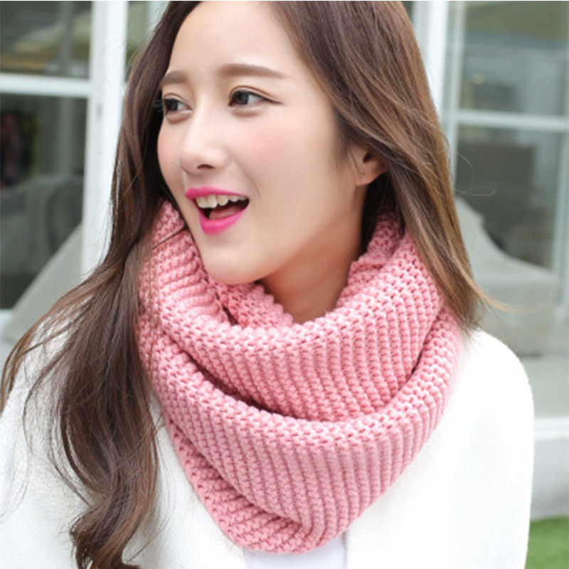 Women Knitted Scarves Lady Winter Pink Scarf Female Knitted Wool Ring Scarf Thicken Warm for <font><b>90</b></font> s girls Keep warm image