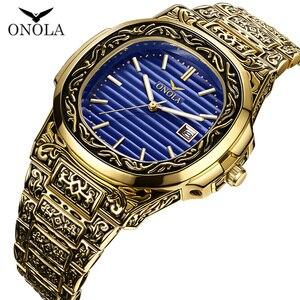 Image 3 - ONOLA designer quartz watch men 2019 unique gift wristwatch waterproof fashion casual Vintage golden classic luxury watch men