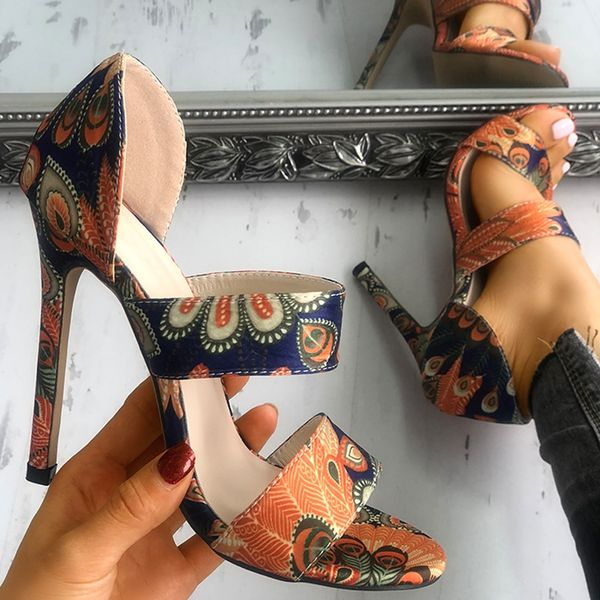 Women Sandals Stiletto High Heel Shoes Open Toe Sandals Casual Shoes Fashion Women Print High Heel Sandals Sexy Party Sandals