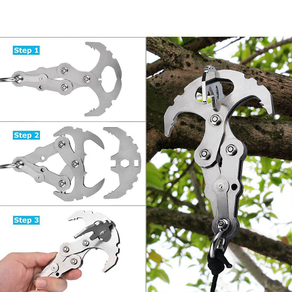 Folding Gravity Hook In Outdoor Grappling Claw Survival Carabiners For Hiking Camping Climbing Tool Set Stainless Mutifunctional