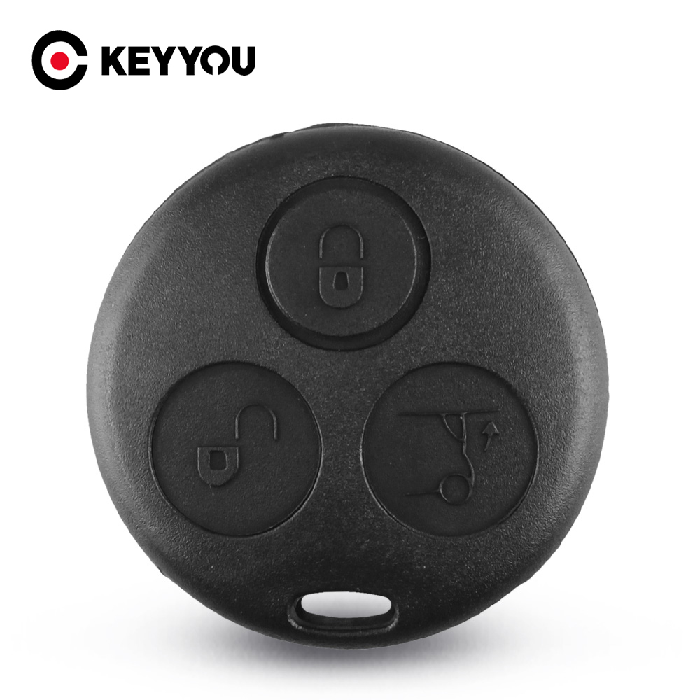 KEYYOU Replacement No Blade Shell For Mercedes Benz MB Smart Fortwo 450 Forfour Roadste 3 Button Key Cover Fob Case