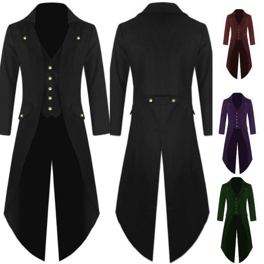 2019 Men MedievalRenaissance Jacket Cosplay Costume Solid Color Long Tuxedo Uniform Coat for men clothing