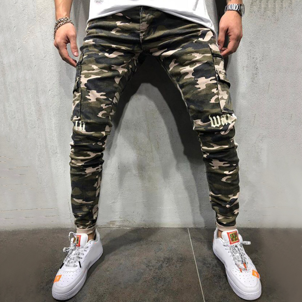 Skinny Jeans Men Side Striped Camouflage Print Jeans Pants Male Hip Hop 2019 Fashion Mens Brand Denim Trousers Jean Homme D25