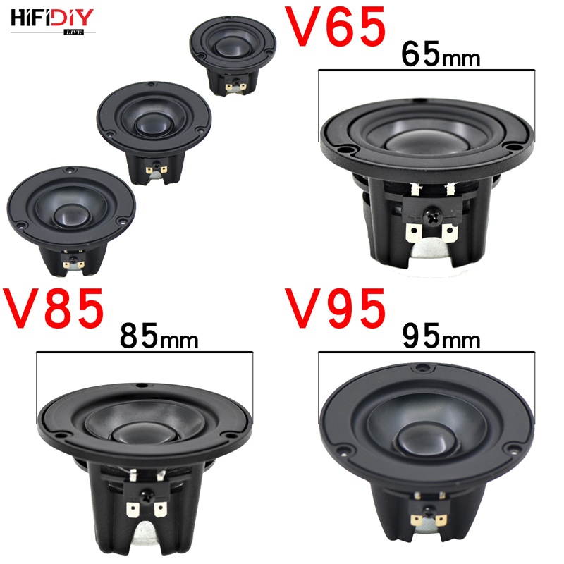 HIFIDIY Aluminum Basin Hi-Fi 2 3 3.5 Inch 65mm Full Frequency Speaker Unit 4OHM 20W High Alto Bass Loudspeaker V65/85/95mm