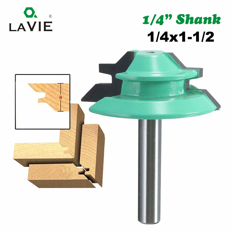 LA VIE 1/4 Shank 1Pc 45 Degree Lock Miter Router Bit Tenon Milling Cutter Woodworking Tool For Wood Machine Tools