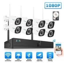 цена на Zoohi Security Camera System Kit 1080P 2MP CCTV Home Security Camera System 8CH Outdoor WIFI Camera Security System Night Vision