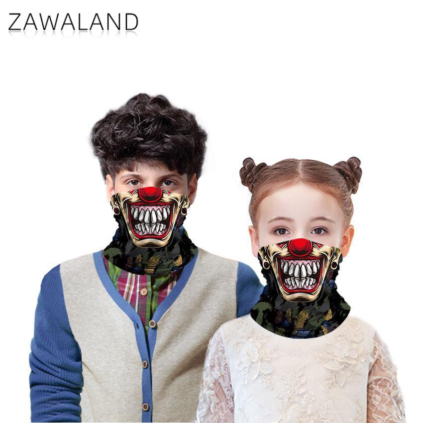 Zawaland Outdoor Breathable Face Mask Sunscreen Dust Scarf Funny Clown Printed Children's Headscarf Boys Girls Tubular Scarf