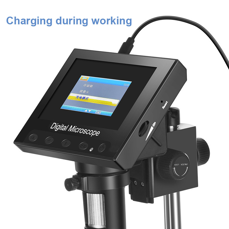720P USB Digital Electronic Microscope 4.3″ LCD Display Screen Zoom Magnifier Endoscope LED Stand PCB Phone Repair Hair Skin