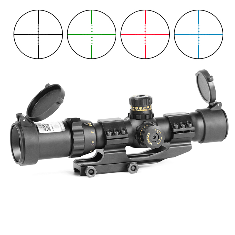 Laserspeed 1-4x28 Scope Sight Red&Green&Blue Illuminated Mil-Dot Riflescope Airsoft Sniper Hunting Tactical-Optical Long-Range image