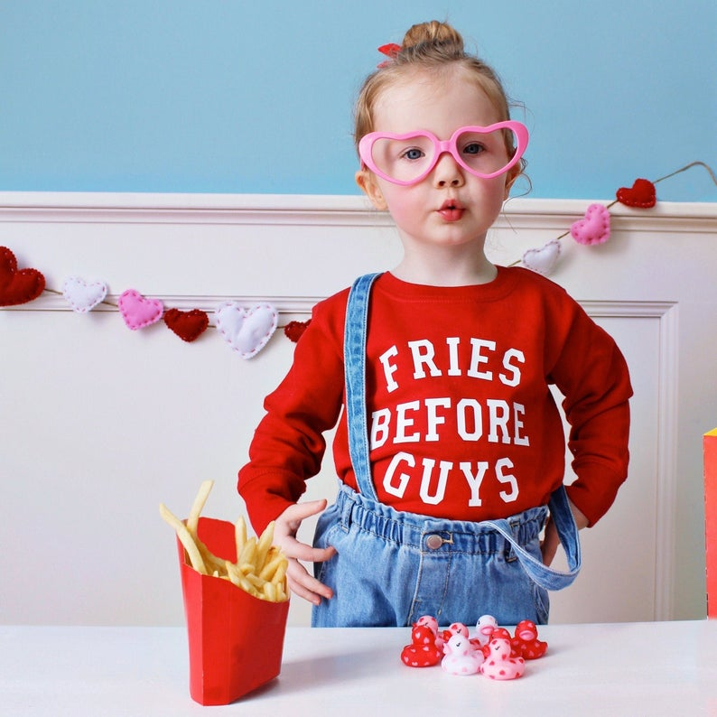 Fries Before Guys Toddler Shirt Feminist Kids Shirt Trendy Kid's Tees Fashion Hipster Style Children's Top Toddler Baby Shirt