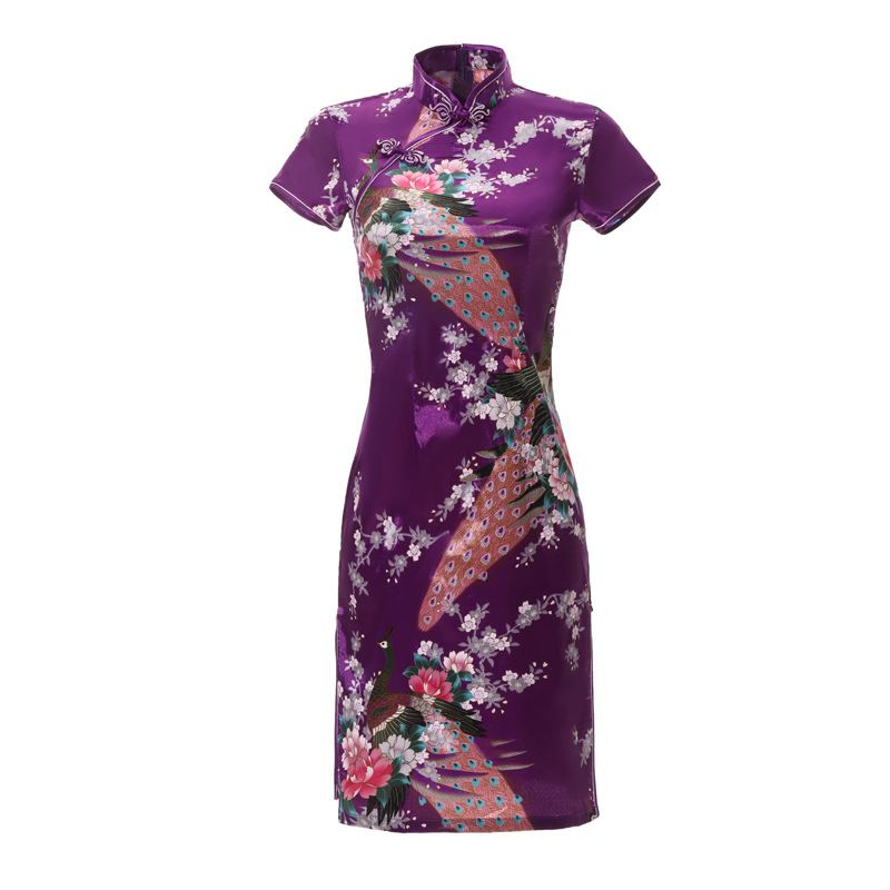Oversize 6XL Purple <font><b>Chinese</b></font> Lady <font><b>Sexy</b></font> Cheongsam Peacock Mini Qipao Traditioanl Casual <font><b>Dress</b></font> For Women Mandarin Collar <font><b>Dress</b></font> image