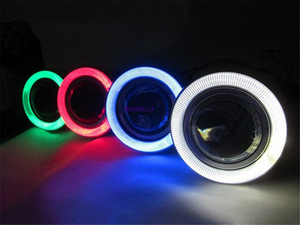 "Image 4 - 2pcs Angel Eyes Fog Lamp  3.0"" 76mm  12V Universal COB LED DRL Driving Lights white blue pink yellow green red"