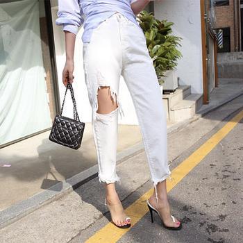 White Jeans for Women High Waist Ripped Hole Fringe Hem Female Harem Denim Jeans 2020 Streetwear Women Denim Trousers allover florals print fringe hem kimono